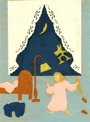 Figure 11 c. 1938: Illustration- Mary & The Poodies featuring a poodie in the window and Mary below.