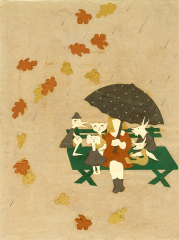 Figure 12 c. 1938: Illustration- Mary sitting with the poodies on a rainy fall day.