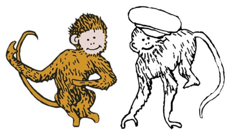 Figure 13: Two monkeys from Caps for Sale